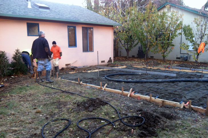 Foundation forming for room addition in Davis CA