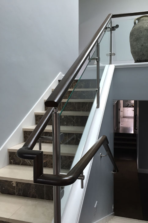 New staircase with railing